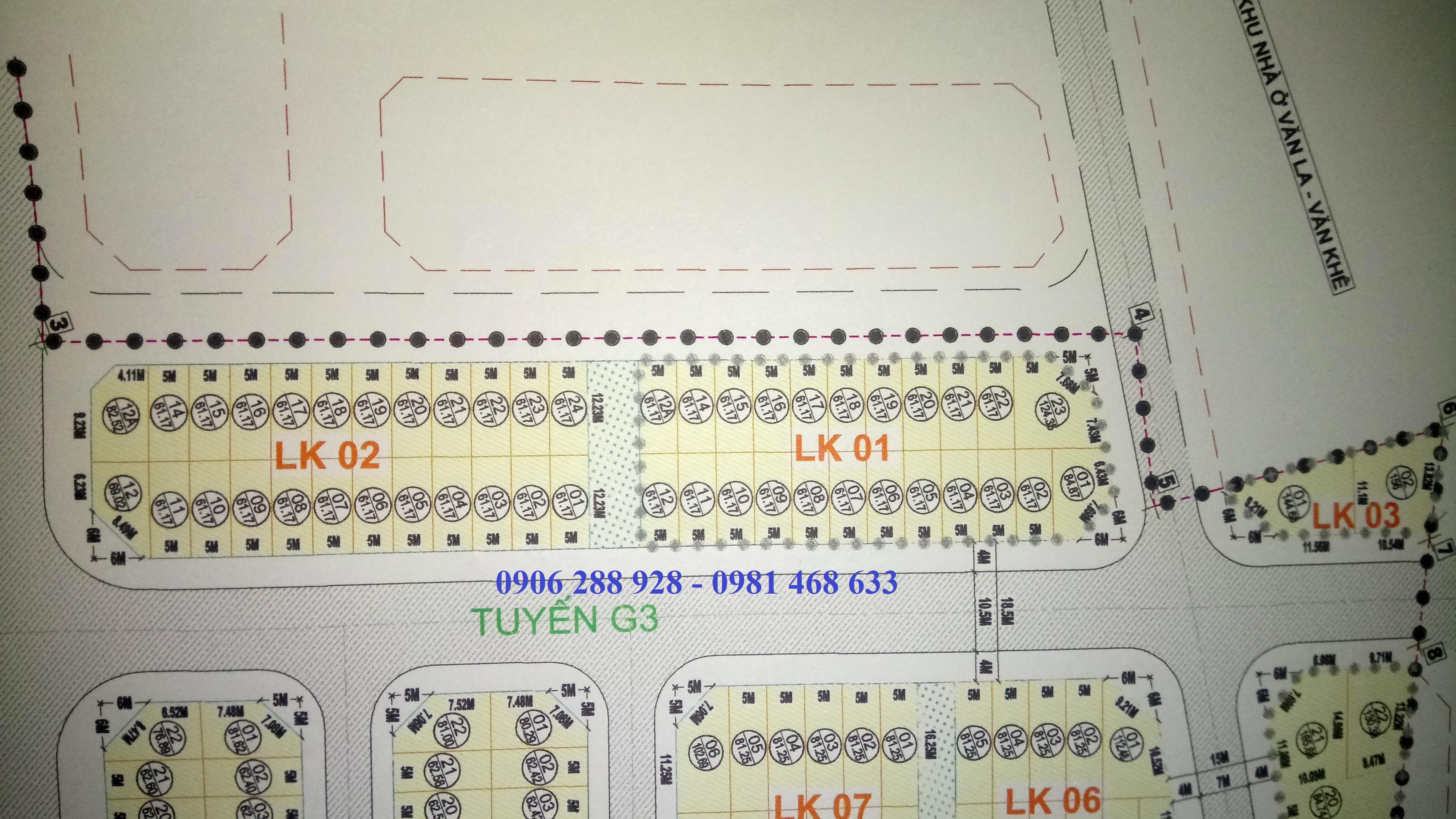 Phân lô LK1, LK2, LK3 dự án Phú Lương