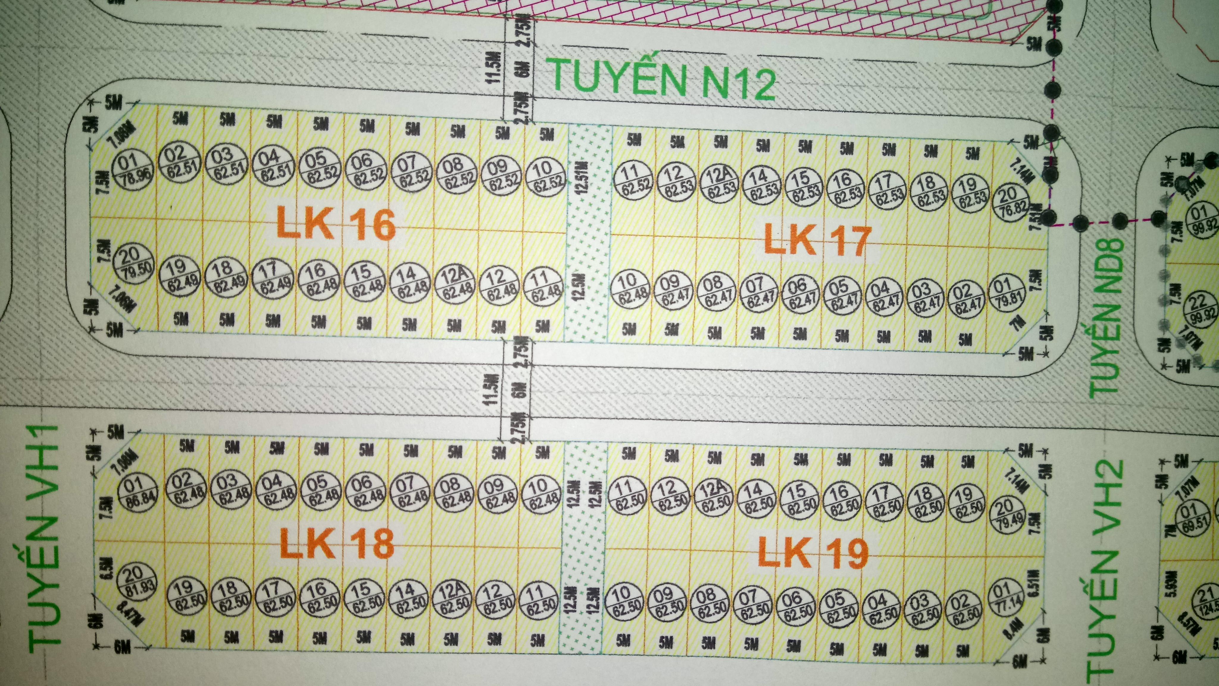 Phân lô LK 16, LK 17, LK 18, LK19
