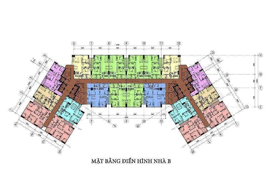 Mặt bằng điển hình nhà B dự án ia20 ciputra
