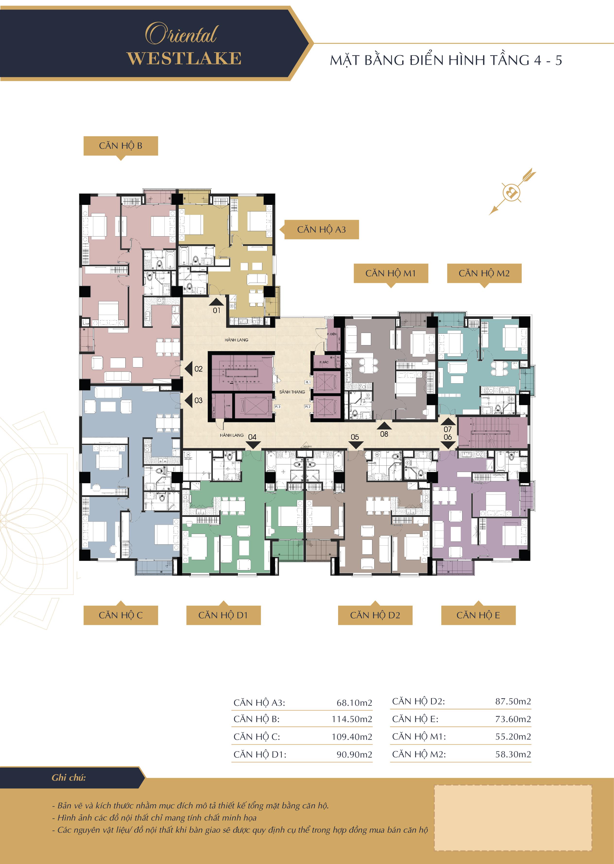 Mặt bằng điển hình tầng 4-5 dự án oriental westlake