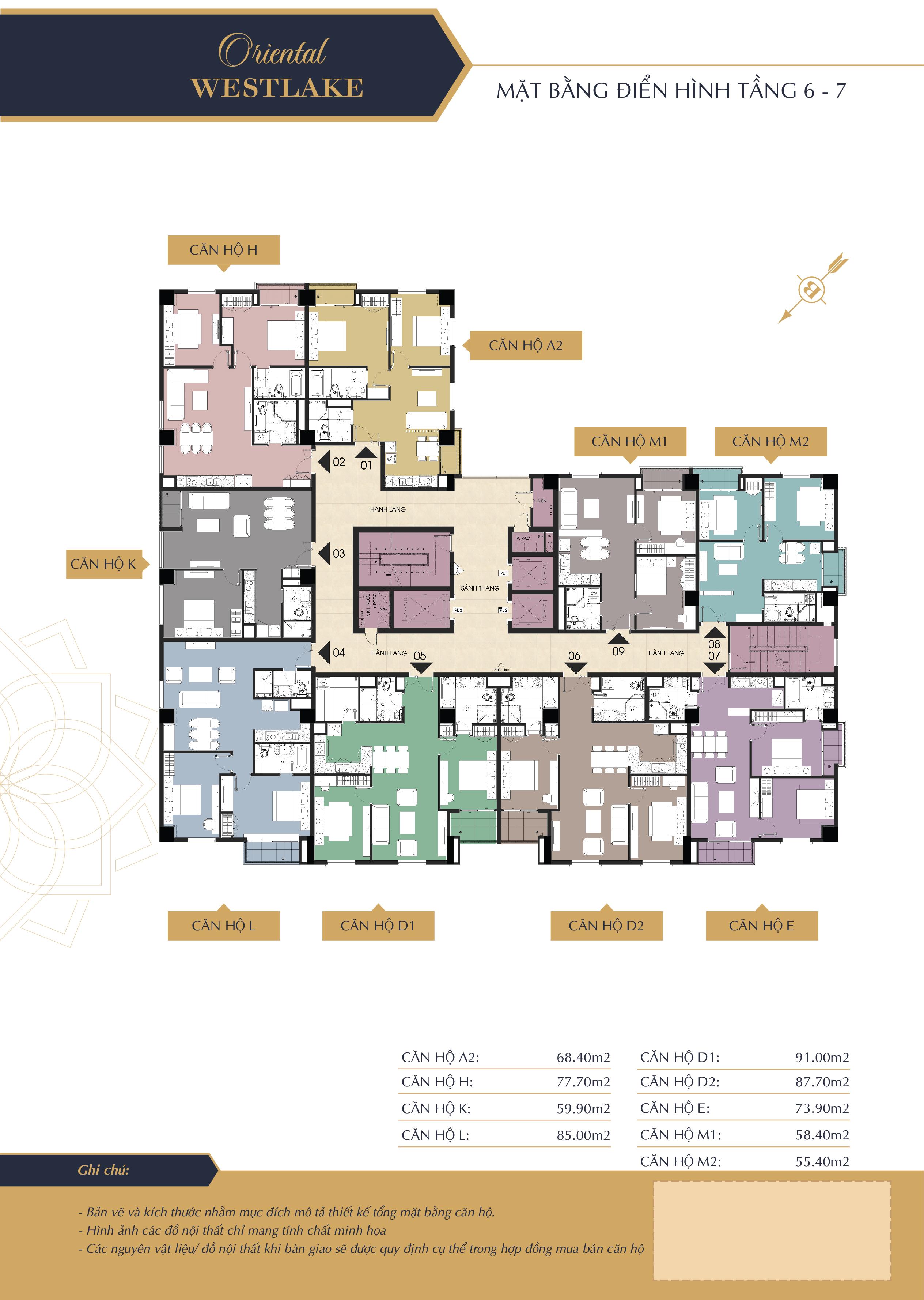 Mặt bằng điển hình tầng 6-7 dự án oriental westlake