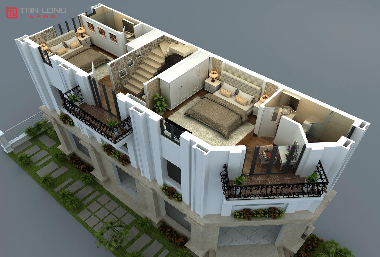 Phối cảnh thiết kế tầng 3 Dreamland Hồ Tây ( Lô góc )