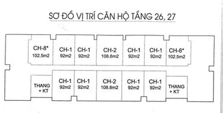 Sơ đồ vị trí căn hộ tầng 26, 27