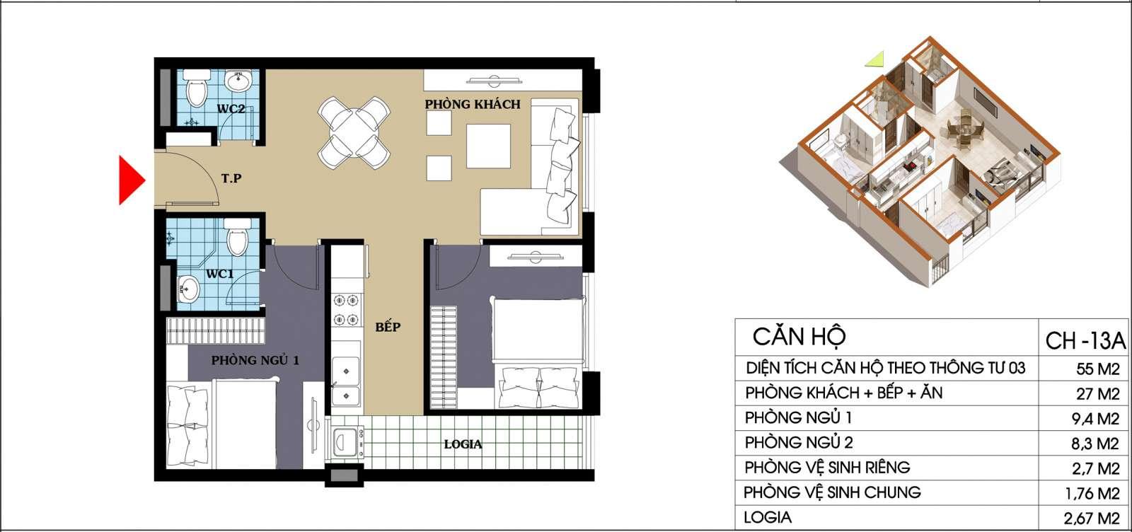 Thiết kế căn hộ 55 m2 chung cư 987 tam trinh