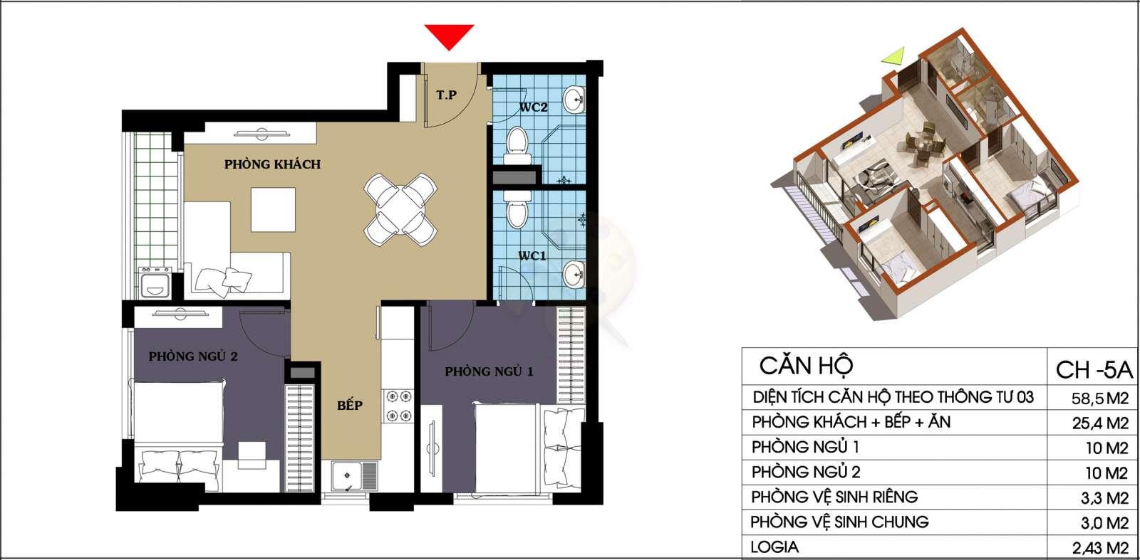 Mặt bằng căn hộ 58,5 m2 dự án 987 tam trinh