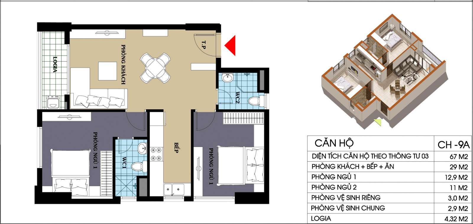 Thiết kế căn hộ 67 m2 dự án 987 tam trinh