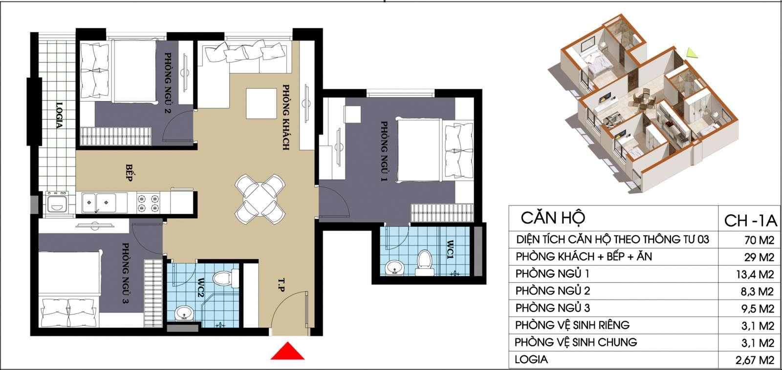 Thiết kế căn hộ 70 m2 chung cư 987 Tam Trinh
