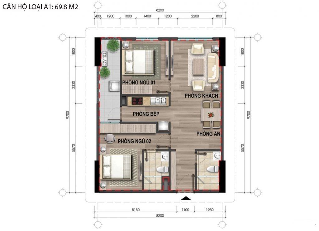 Thiết kế căn hộ A1 69,8m2 chung cư bộ công an 43 Phạm Văn Đồng