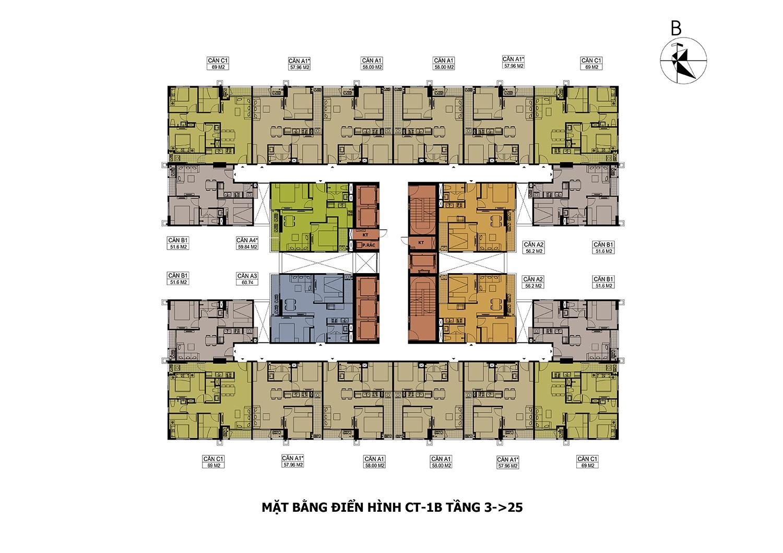 Mặt bằng điển hình CT-1B Tầng 3->25 dự án Hateco Apollo