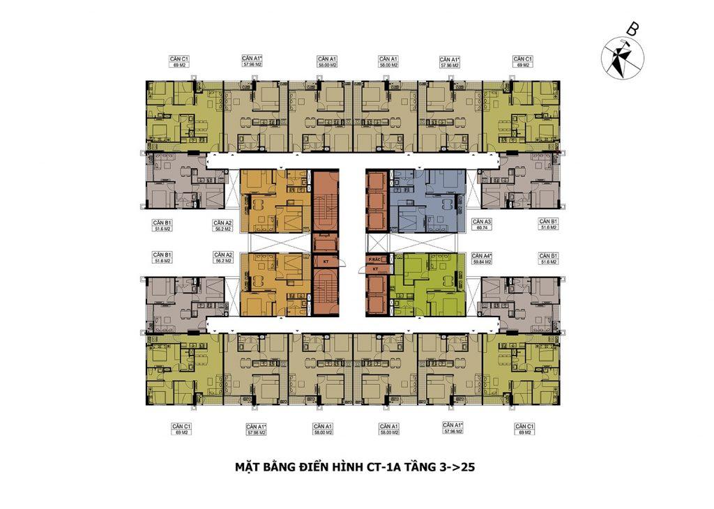 Mặt bằng điển hình CT-1A Tầng 3->25 dự án Hateco Apollo