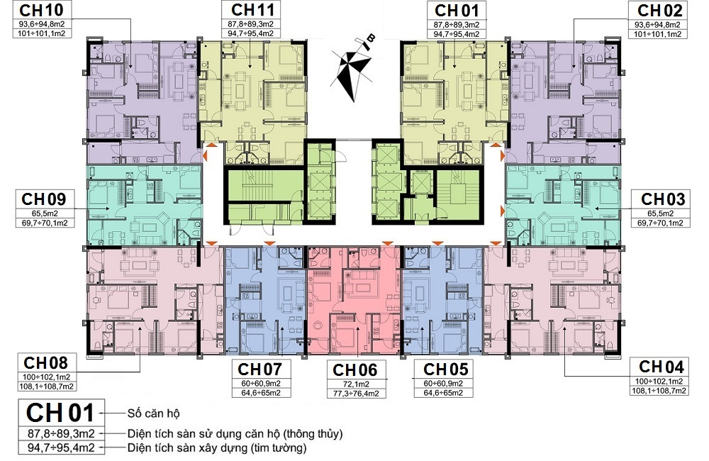 Mặt bằng tầng điển hình chung cư A10 Nam Trung Yên
