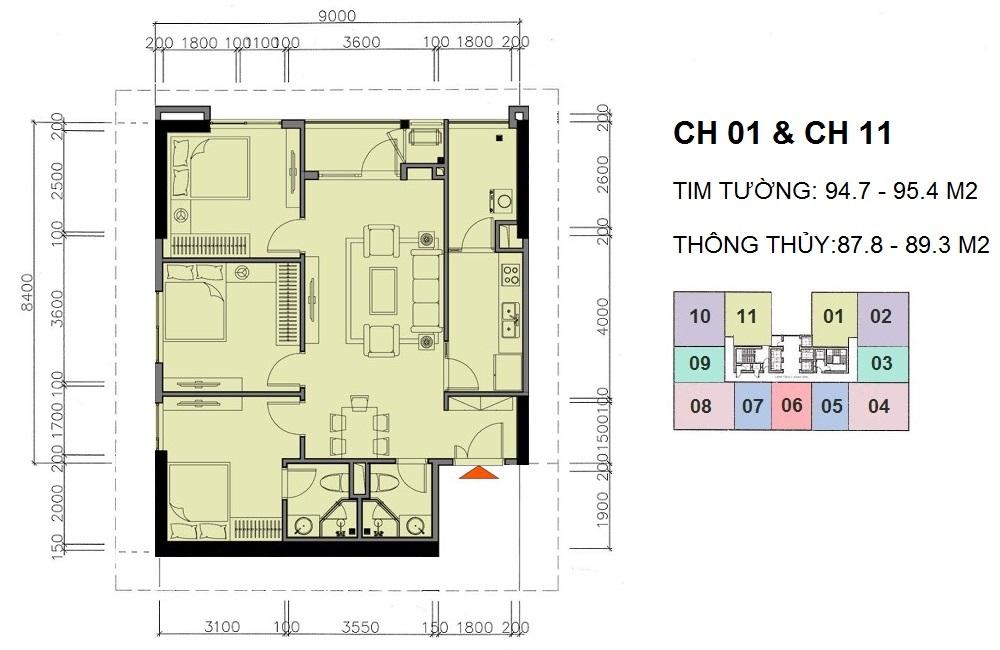 Mặt bằng căn hộ 01 và căn hộ 11 A10 Nam Trung Yên