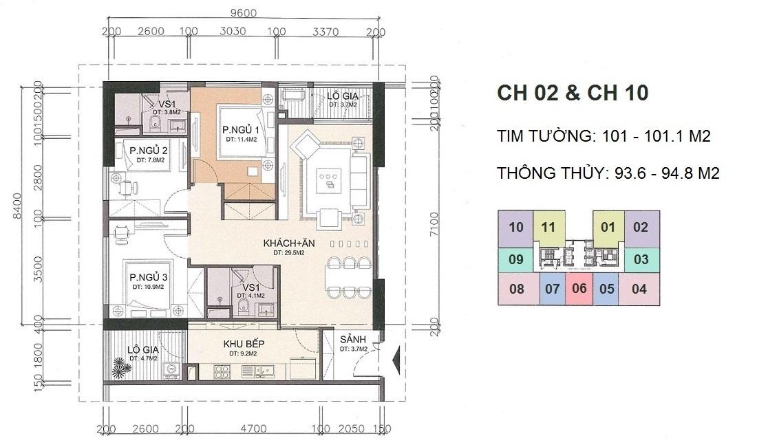 Mặt bằng căn hộ 02 và căn hộ 10 A10 Nam Trung Yên