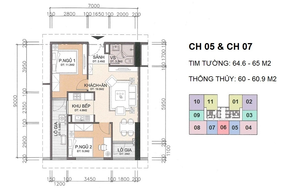 Mặt bằng căn hộ 05 và căn hộ 07 A10 Nam Trung Yên