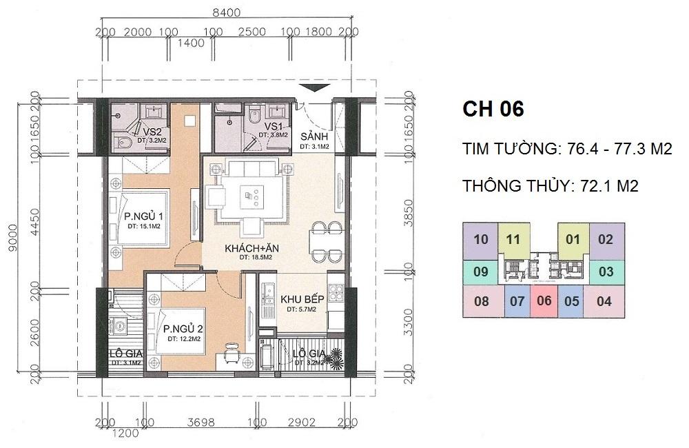 Mặt bằng căn hộ 06 A10 Nam Trung Yên