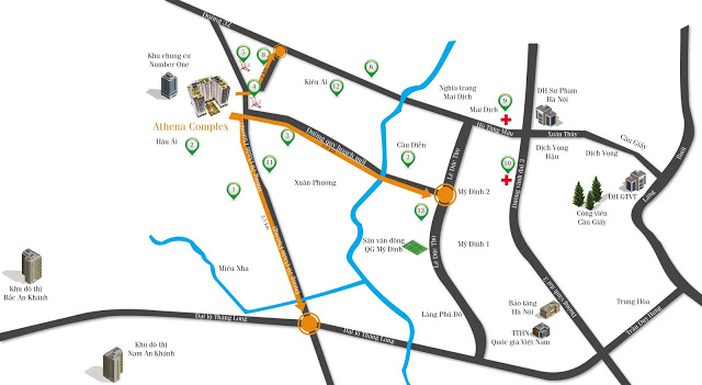 Vị trí dự án Athena Complex Xuân Phương
