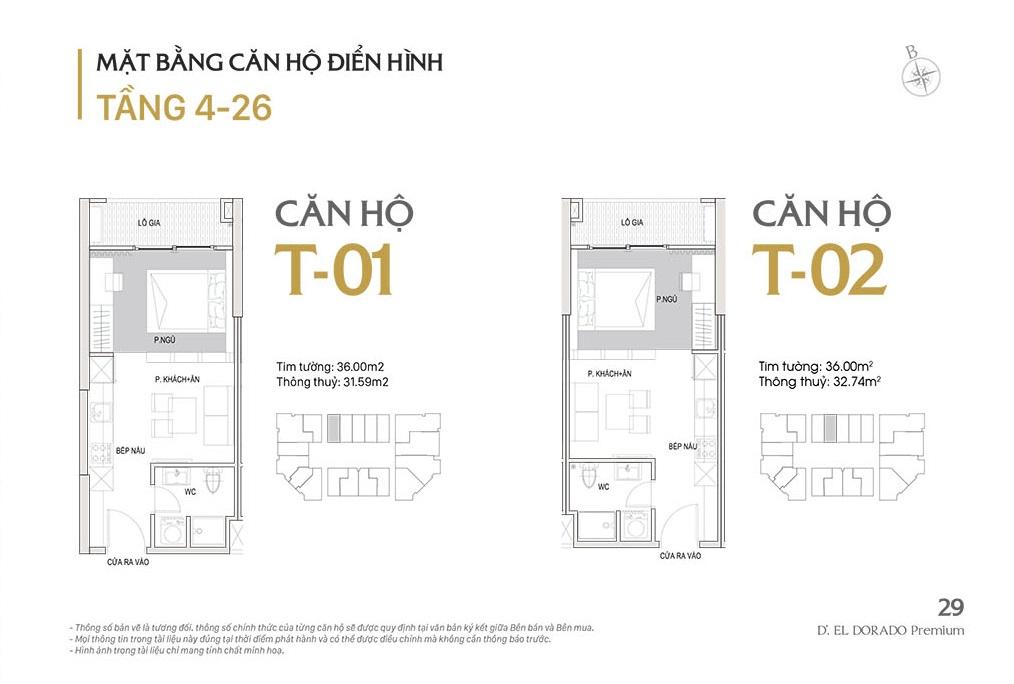 Mặt bằng căn hộ điển hình tầng 4-26