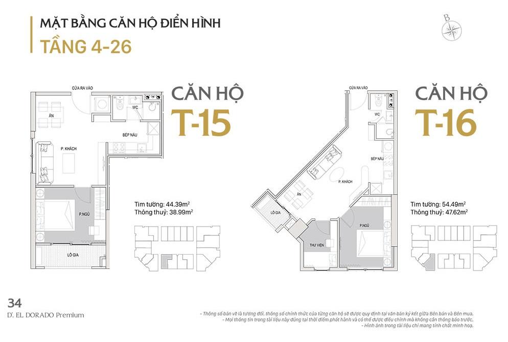 Mặt bằng căn hộ điển hình T15-T16