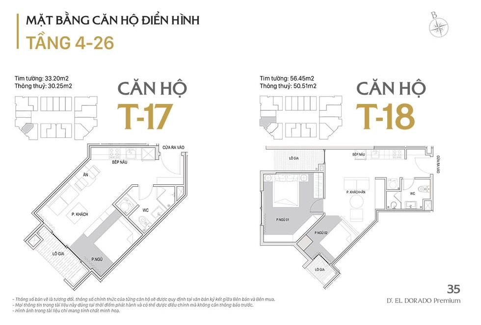 Mặt bằng căn hộ điển hình T17, T18 d el dorado