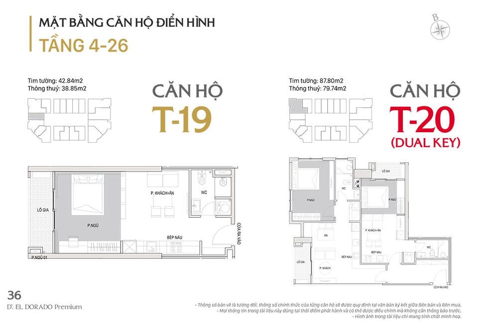 Mặt bằng căn hộ điển hình T19, T20 d el dorado