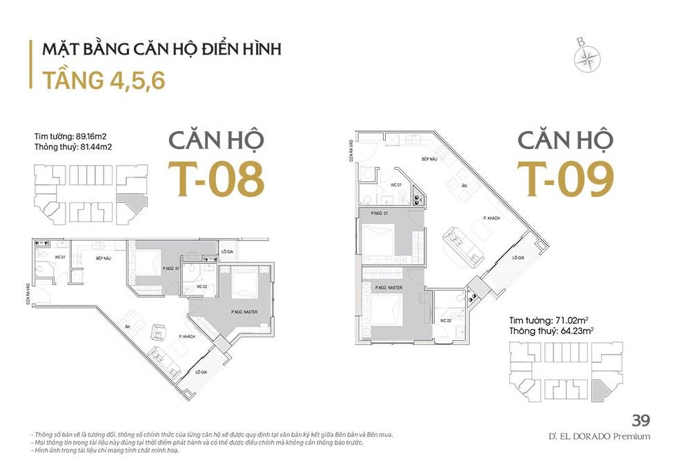 Mặt bằng căn hộ điển hình T08, T09