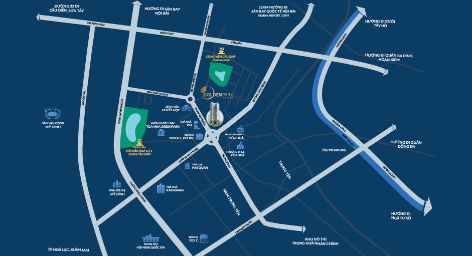 Liên kết vùng dự án chung cư GOLDEN PARK TOWER