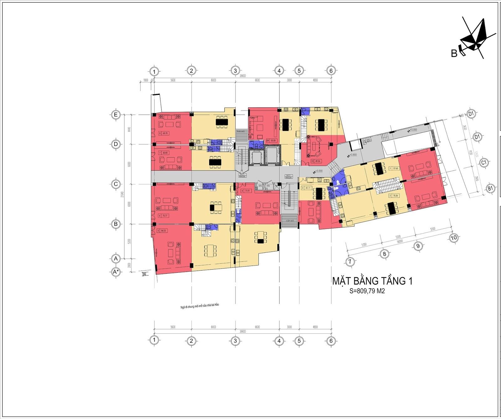 Mặt bằng tầng 1 dự án Núi Trúc Square