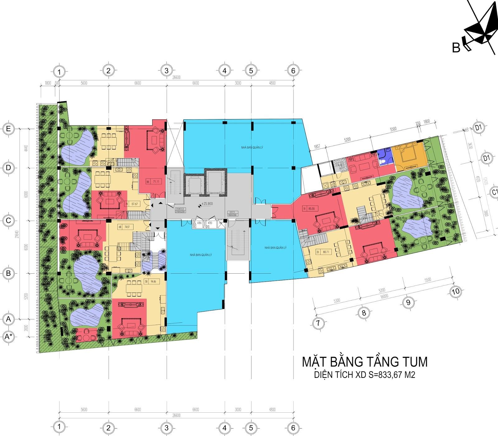 Mặt bằng tầng Penhouse chung cư Núi Trúc Square
