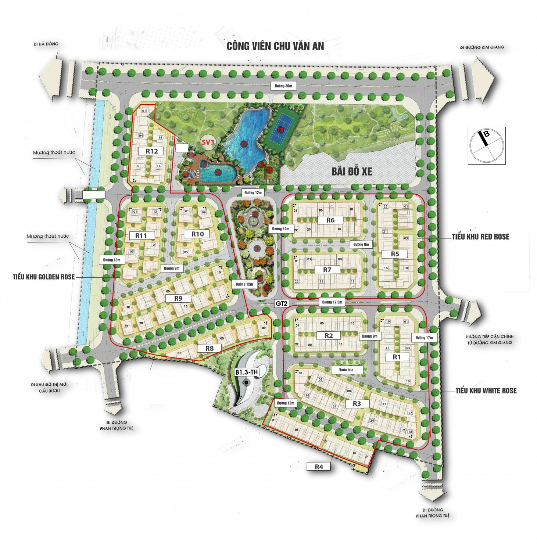 Phân khu nhà vườn Liền kề: R1, R2, R3, R4, R5, R6, R7, R12