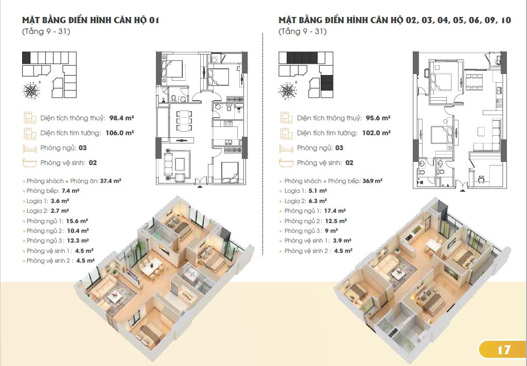 Mặt bằng điển hình căn hộ 1, 2, 3, 4, 5, 6, 9, 10 (Tầng 9-31)