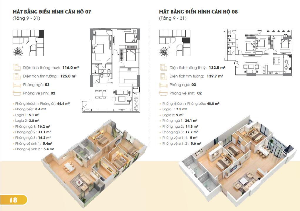 Mặt bằng điển hình căn hộ 7, 8 (Tầng 9-31)