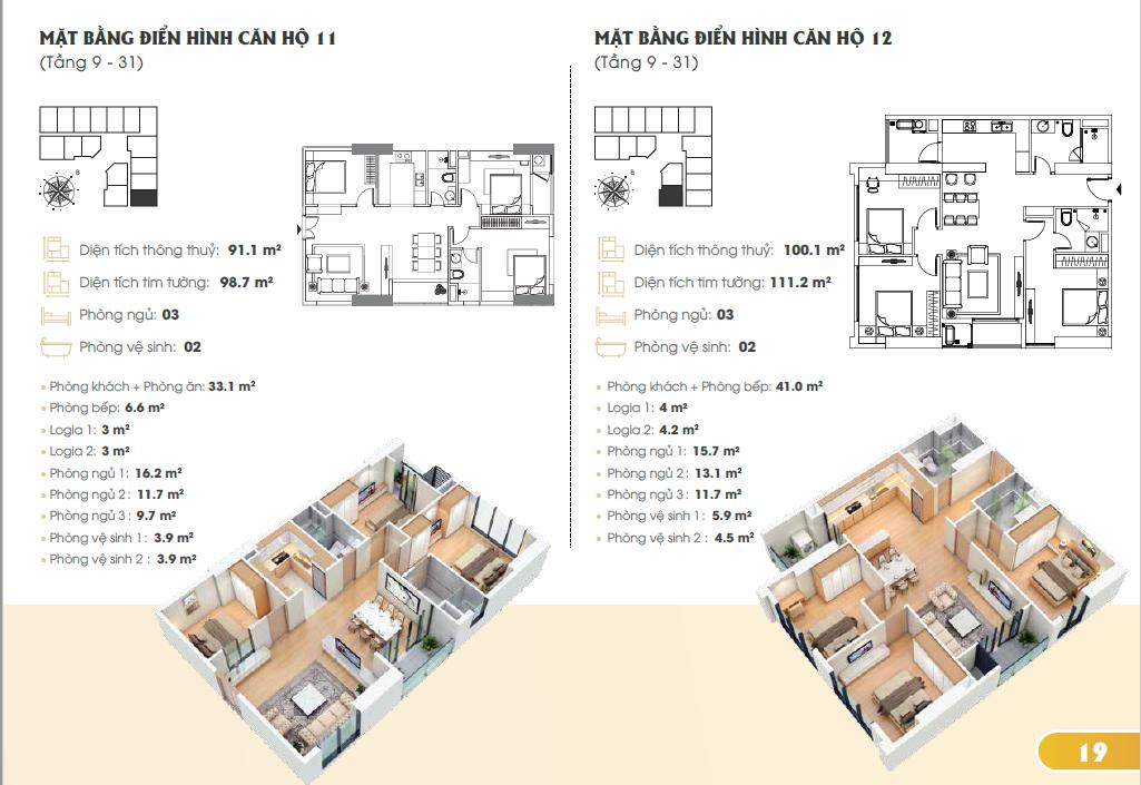 Mặt bằng điển hình căn hộ 11, 12 (Tầng 9-31)