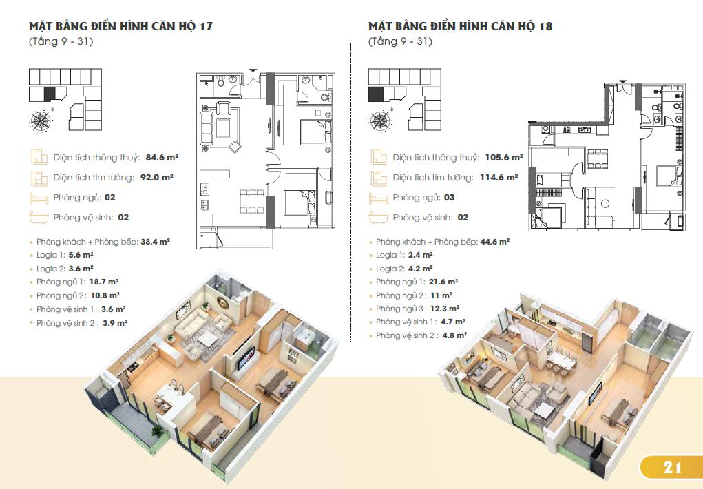 Mặt bằng điển hình căn hộ 17, 18 (Tầng 9-31)