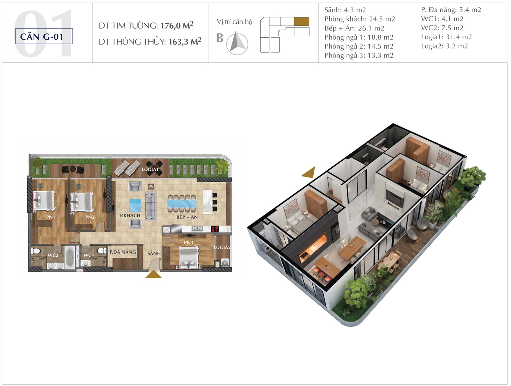 Thiết kế căn hộ G-01 chung cư sunshine golden river