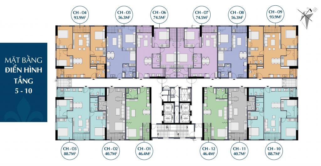 Mặt bằng điển hình tầng 5 - 10 chung cư 27 Thái Thịnh - Le Capitole