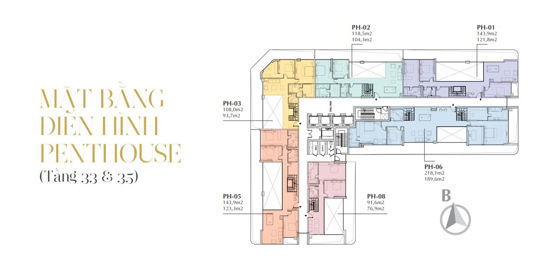 Mặt bằng điển hình tầng 33 - 35 chung cư sunshine golden river