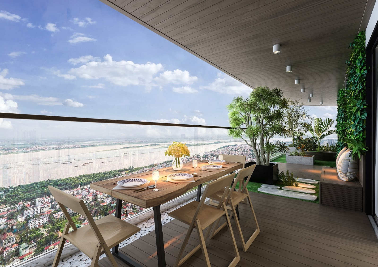 Tầm view đắt giá ra sông Hồng chung cư sunshine golden river