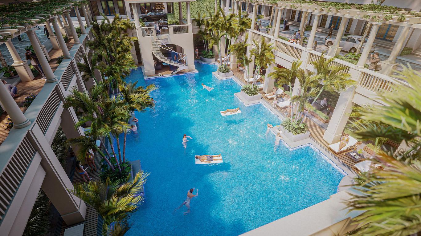 Bể bơi bốn mùa chung cư sunshine golden river