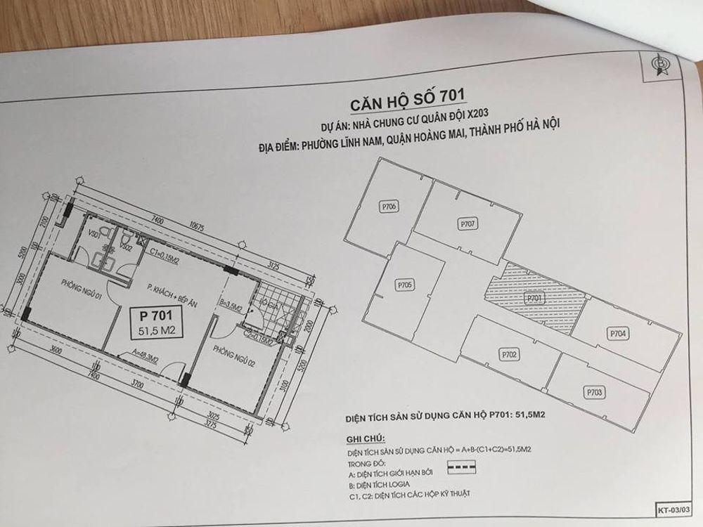 Thiết kế căn hộ số 701 chung cư X203 Lĩnh Nam
