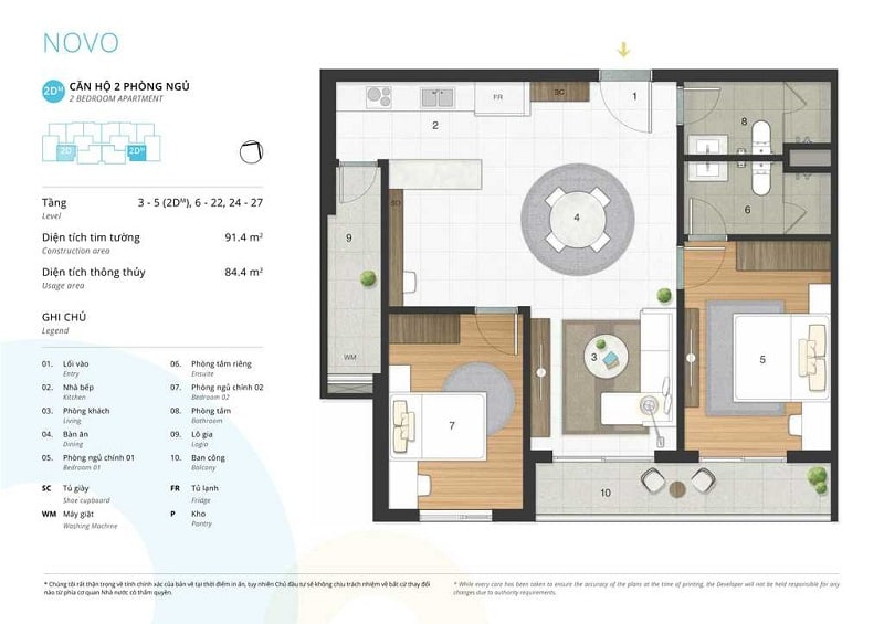 Thiết kế căn 2 ngủ loại 2D