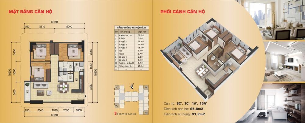 Thiết kế căn hộ 9C', 1C', 1A', 15A' chung cư Gemek Premium
