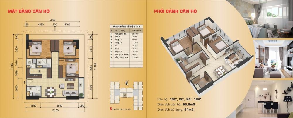Thiết kế căn hộ 10C', 2C', 2A', 16A' chung cư Gemek Premium