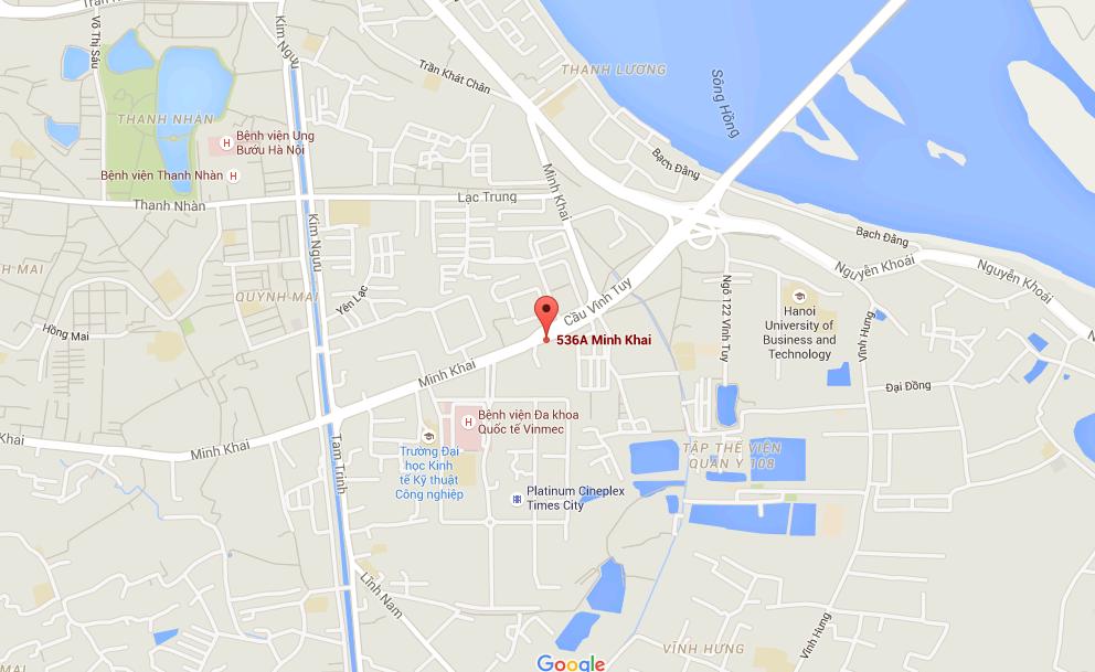 Vị trí dự án chung cư 536A Minh Khai