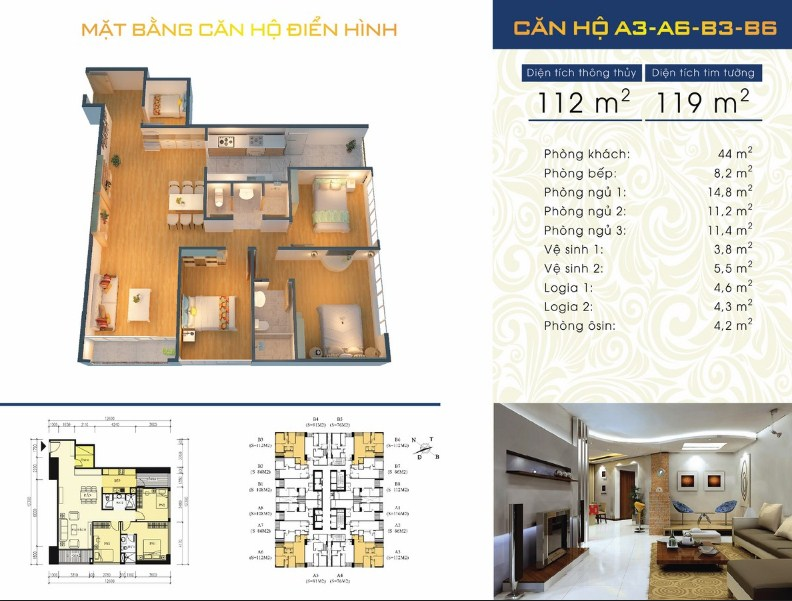 Thiết kế căn hộ A3 - A6 - B3 - B6