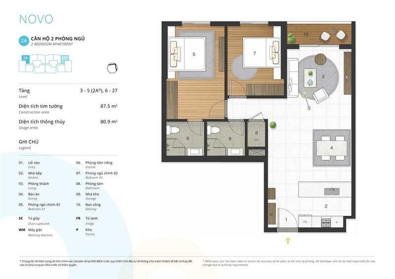 Thiết kế căn 2 ngủ loại 2A