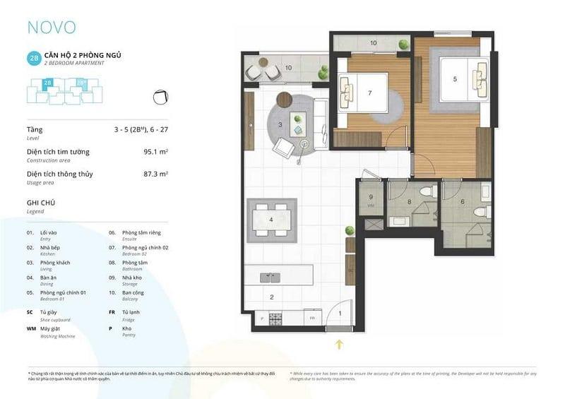 Thiết kế căn 2 ngủ loại 2B