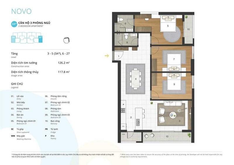 Thiết kế căn 3 ngủ loại 3A
