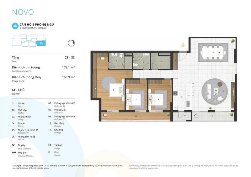 Thiết kế căn 3 ngủ loại 3D