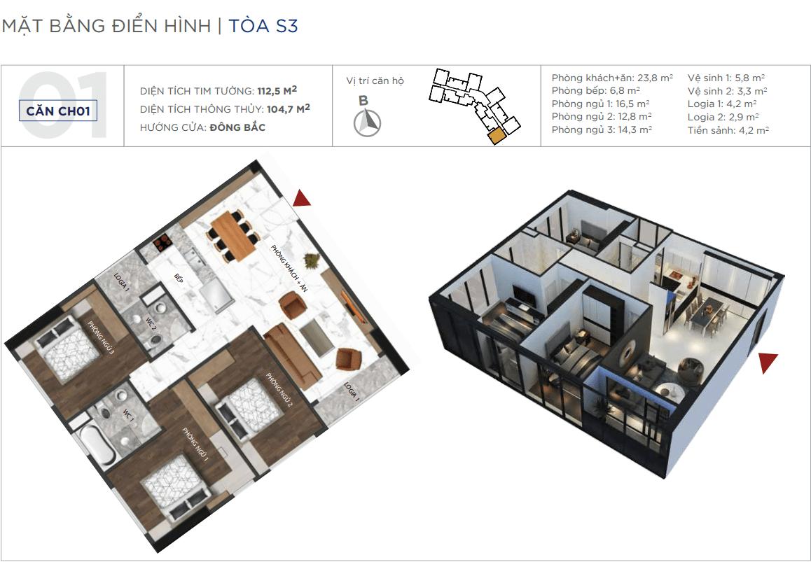 Thiết kế căn hộ 01 chung cư Sunshine City Ciputra