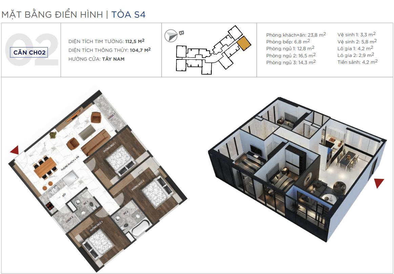 Thiết kế căn hộ 02 chung cư Sunshine City Ciputra